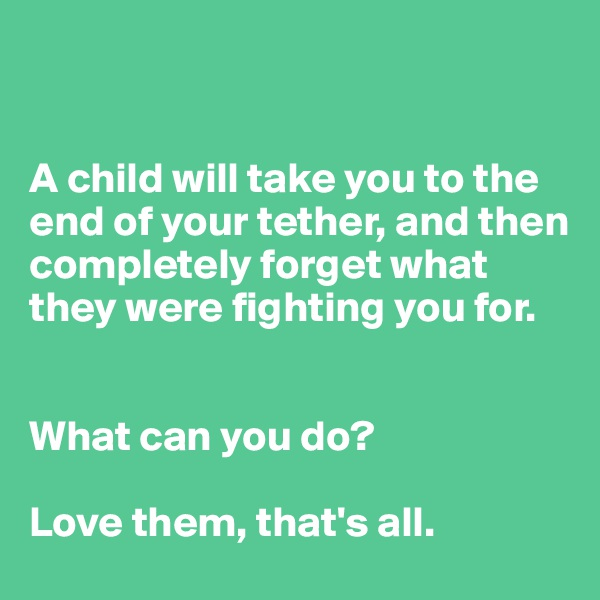 A child will take you to the end of your tether, and then completely forget what they were fighting you for.    What can you do?   Love them, that's all.