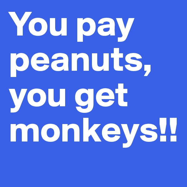 You pay peanuts, you get monkeys!!