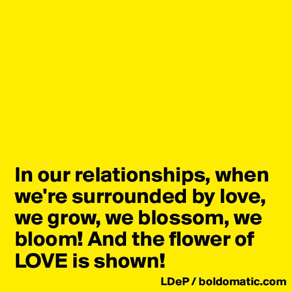 In our relationships, when we're surrounded by love, we grow, we blossom, we bloom! And the flower of LOVE is shown!