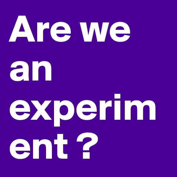 Are we an experiment ?