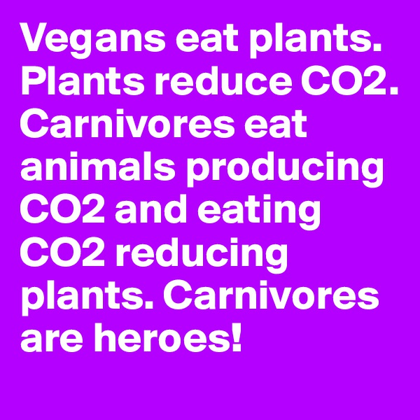 Vegans eat plants. Plants reduce CO2. Carnivores eat animals producing CO2 and eating CO2 reducing plants. Carnivores are heroes!