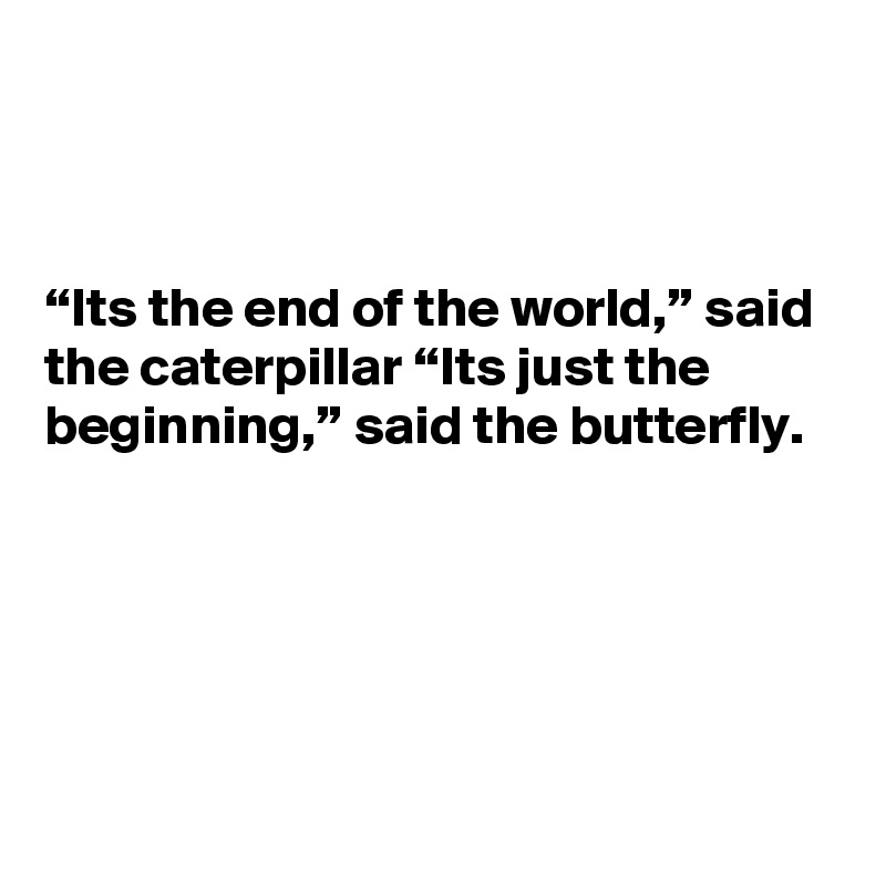"""""""Its the end of the world,"""" said the caterpillar """"Its just the beginning,"""" said the butterfly."""