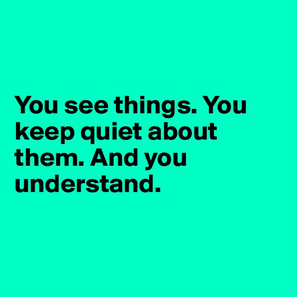 You see things. You keep quiet about them. And you understand.