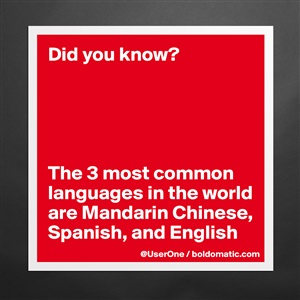 Did You Know The Most Common Languages In The W Mug By - 3 most common languages in the world